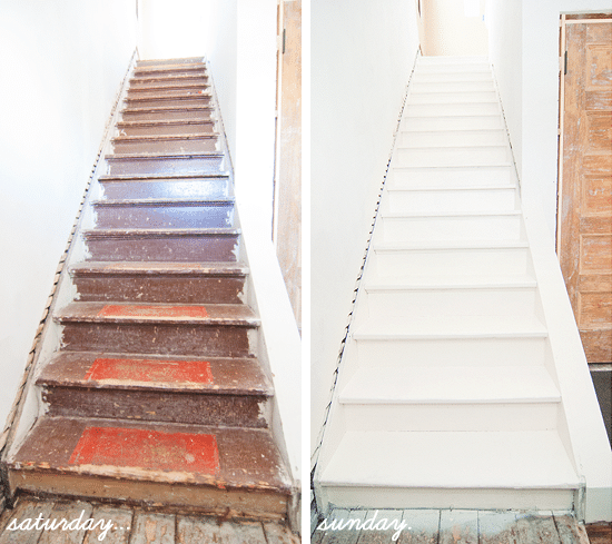 Charmant Over The Weekend, We Took Those Messy Stairs (originally Covered In Maroon  Carpeting And Hundred Year Old Filth, Remember?) And Prepped It For Paint: