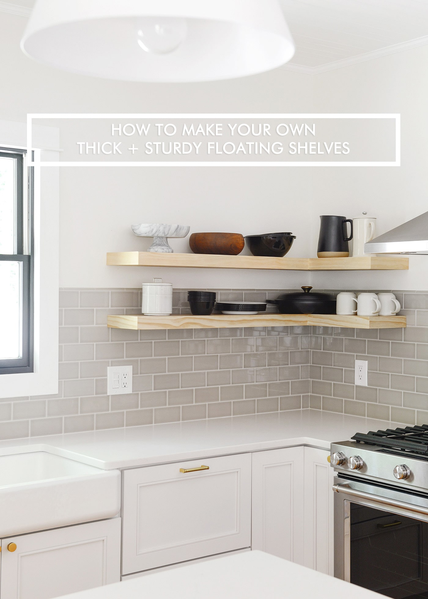 Make Your Own Thick And Sturdy Floating Shelves // Video Tutorial! // Via