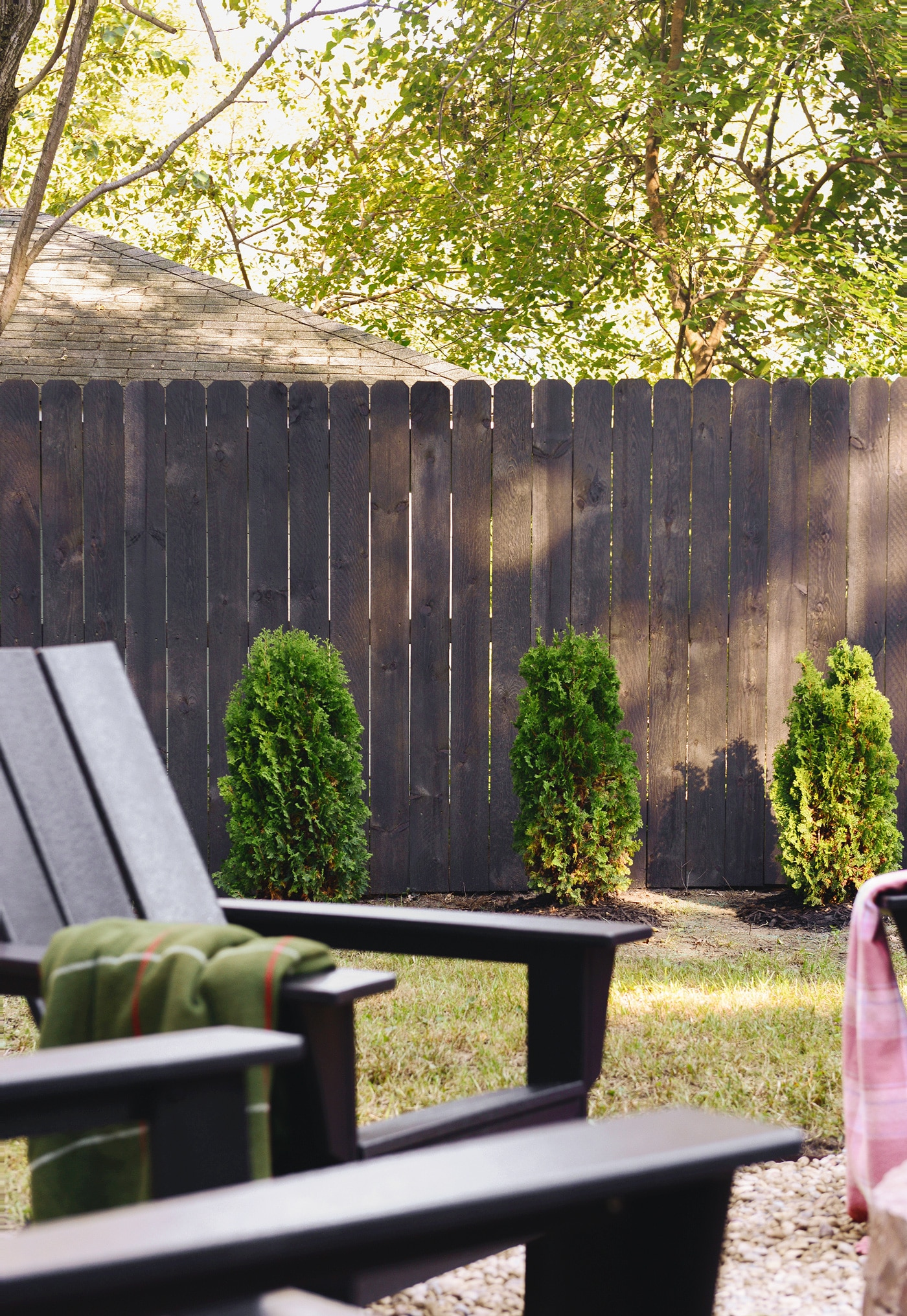 Staining Our Fence Black Yellow Brick Home