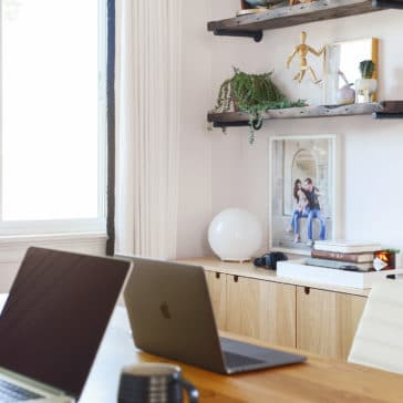light pink and wood office from Yellow Brick Home