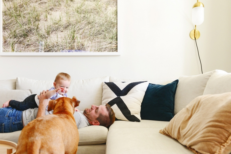 Sweet Lucy with her puppy, Jack   via Yellow Brick Home
