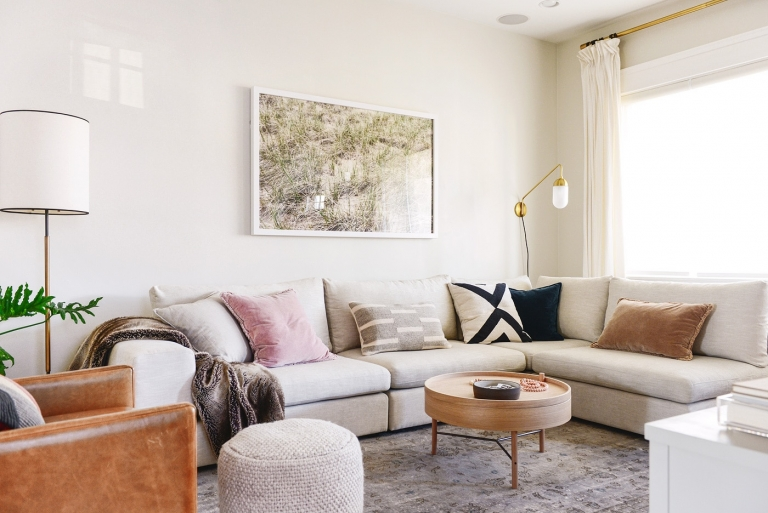 Article Gaba sectional in Pearl White, a living room makeover (or a makeunder?!) // neutral, cozy living room via Yellow Brick Home