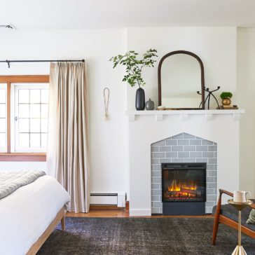 The Sweet Beast One Room Challenge // beautiful neutrals, wood tones, vintage rug and fireplace
