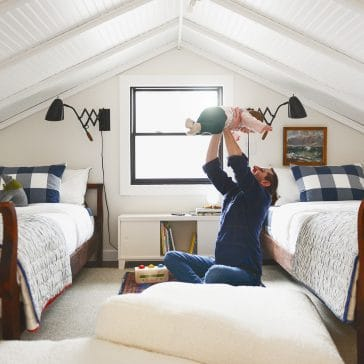 A cheery, playful sleeping loft | Michigan lake house | via Yellow Brick Home