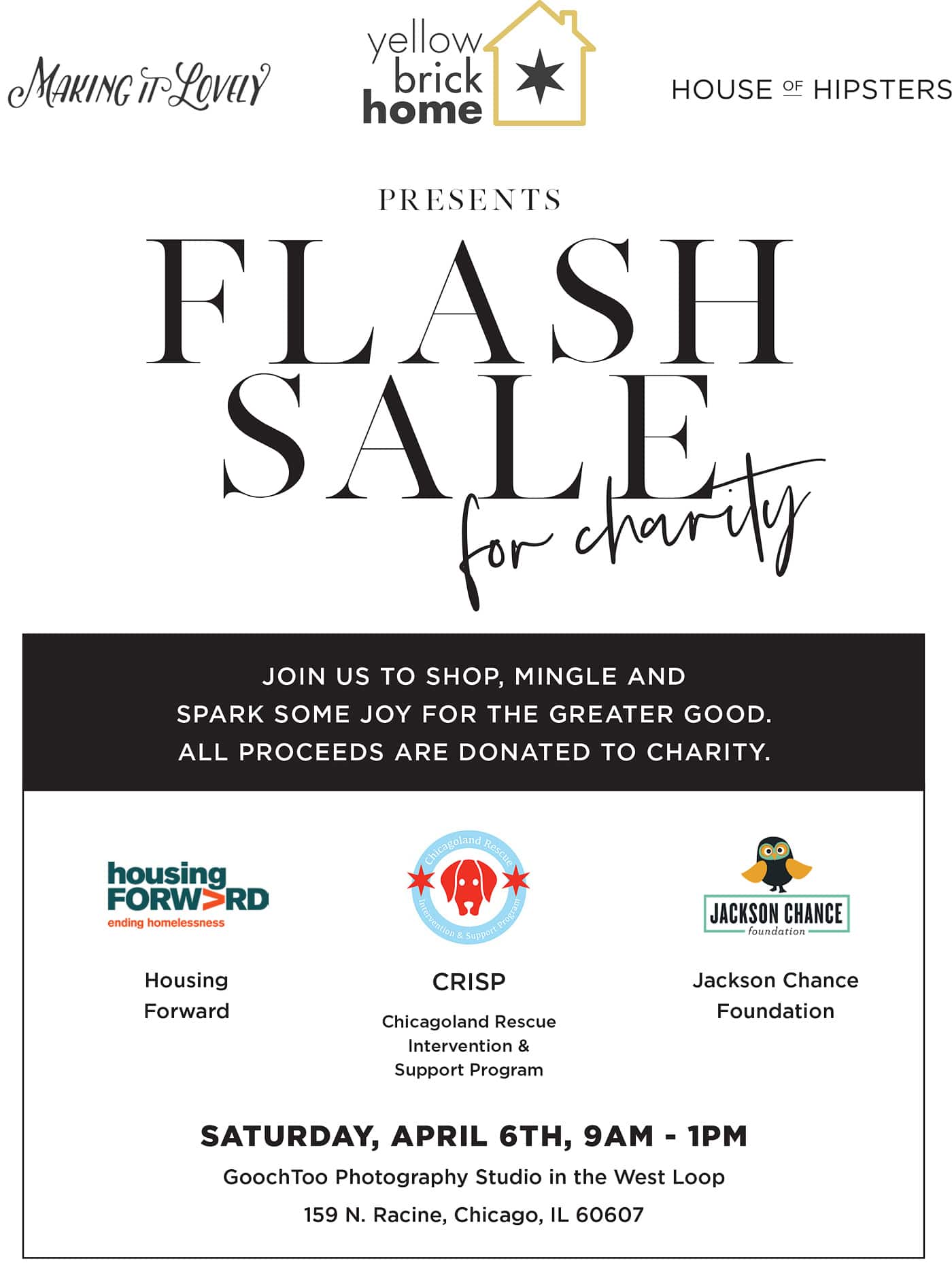 A Flash Sale for charity via Yellow Brick Home | save the date!