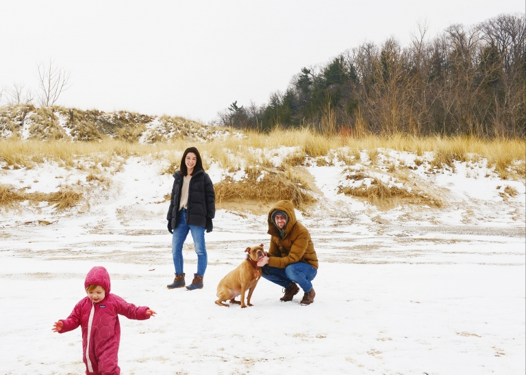 The whole family hanging out at Warren Dunes State Park | via Yellow Brick Home
